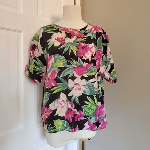 2/$25 floral print short sleeve boxy oversized top